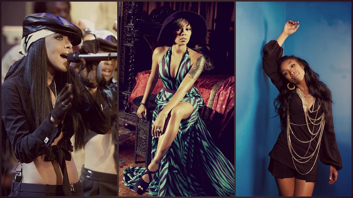 Aaliyah. Foto: MboyoT/Flickr/CC BY 2.0.  Monica. Foto: Sony Music. Brandy. Foto: Jim Cooper/TT