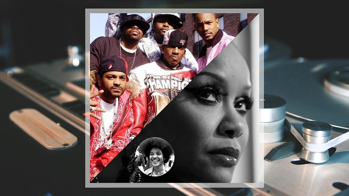 Kollage med hiphopgruppen The Diplomats (även kända som Dipset), sångerskan Joi samt sångerskan Betty Davis