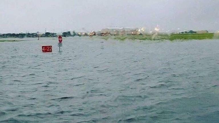 Översvämmad väg i Houston, Texas.