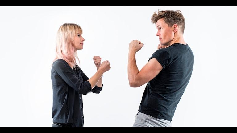 Vakens programledare Isabelle Berglund och Peter Sundberg. Foto Mikael Grönberg
