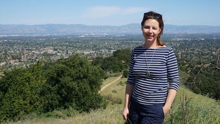 Maria Svemark vid utsiktsplatsen Hunter's Point, varifrån man ser hela San Francisco Bay Area