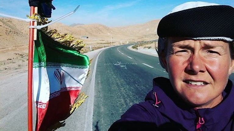 Kristina Paltén under den mest öde sträckan under hennes 160 avklarade mil genom Iran. Foto: Kristina Paltén