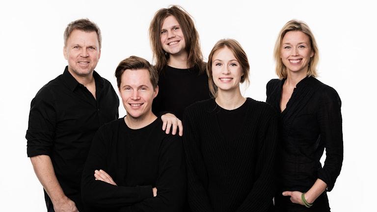 Vaken med P3 & P4. Richard Herrey, Peter Sundberg, Robert Bendtlinder, Isabelle Berglund, Lisa Tallroth.