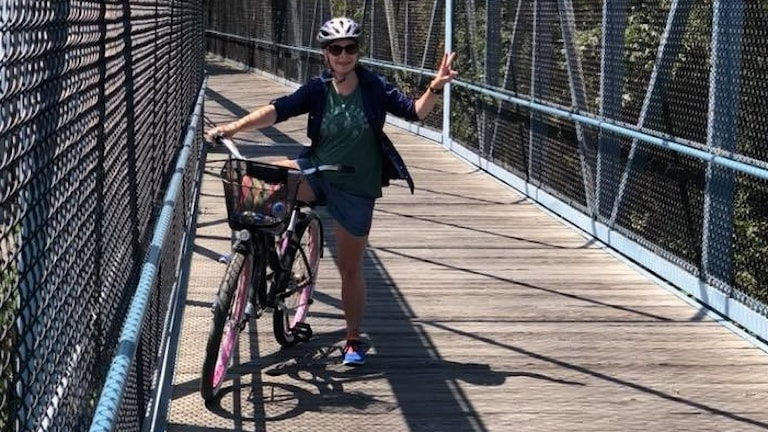 Maria Svemark, en av San Franciscos få cykelpendlare.