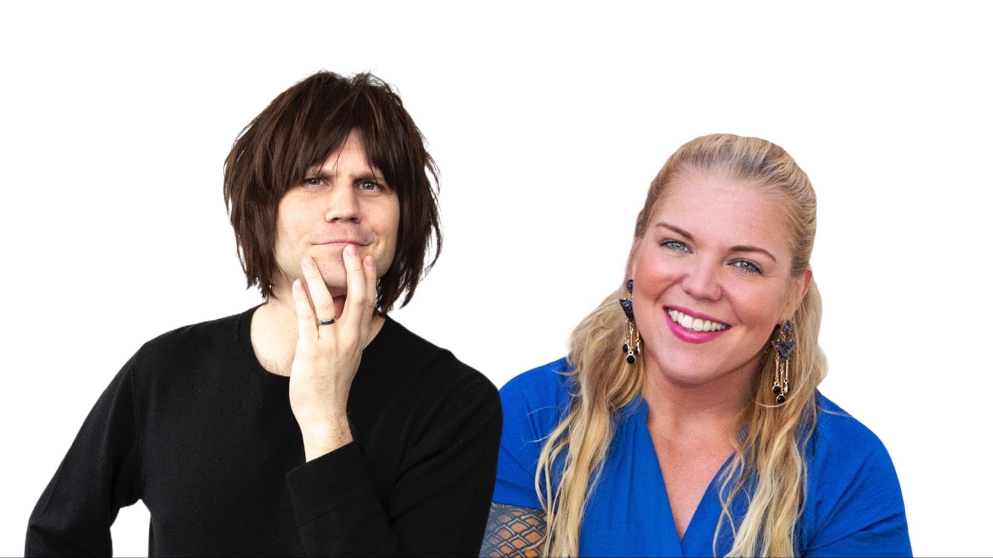 En man med brunt halvlångt hår och svart tröja och en kvinna i blå tröja med långt ljust hår.