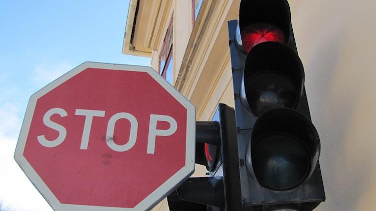 Stopskylt och rödljus. Foto: Linda Zinderland/SVT