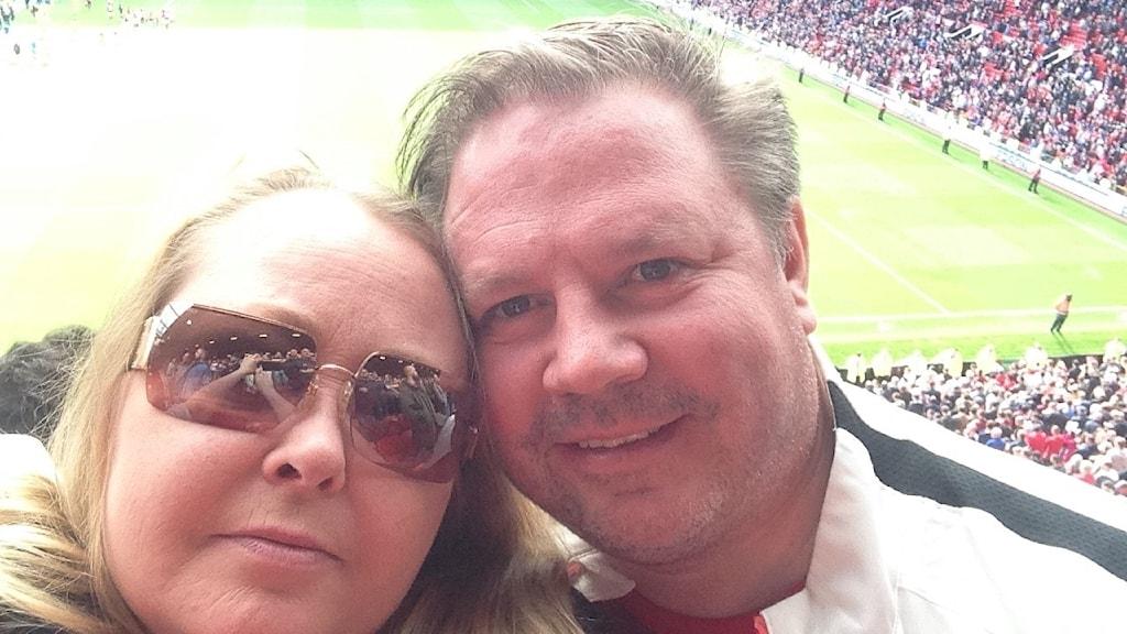 Anna och Rune Ohlsson var i Manchester för att titta på fotboll.