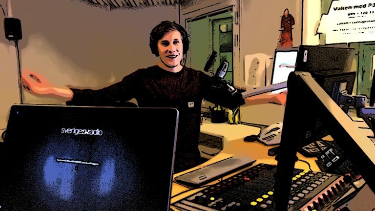 Anton i radiostudio.