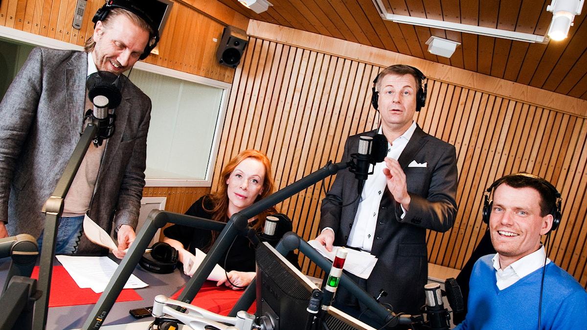 Med Erik Blix, Rachel Mohlin, Göran Gabrielsson och Mattias Konnebäck. Foto: Mattias Ahlm/SR