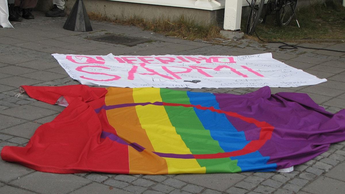 Runt 300 personer samlades på Sápmi Pride i Kiruna i oktober. Foto: Lisa Utsi/Sameradion