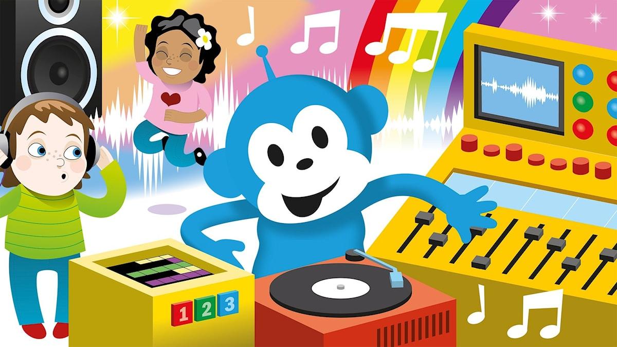 Radioapan är DJ och spelar musik och två barn dansar och skuttar till musiken.