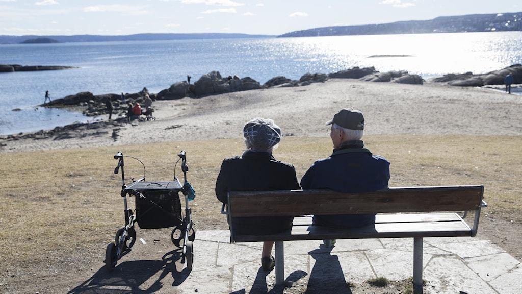 Äldre par på en parkbänk