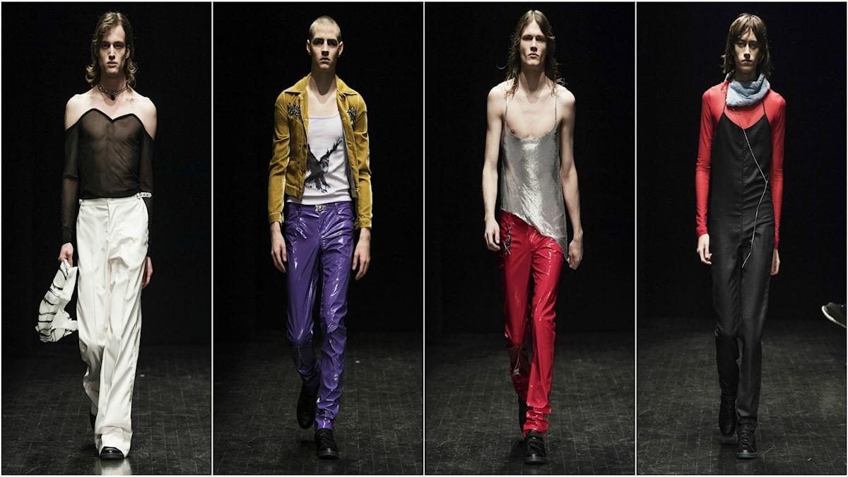 Det nya svenska modemärket LazoSchmidl fick stor uppmärksamhet under Stockholms modevecka där de visade unga män iklädda negligéer och glittrande jumpsuits.