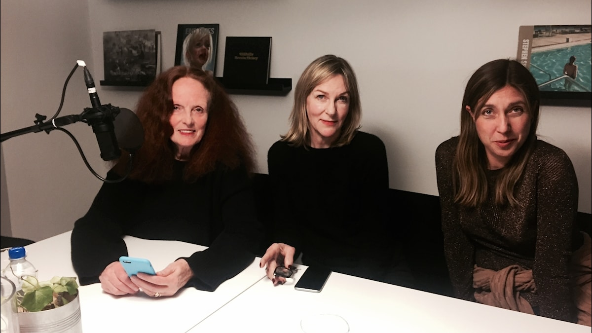 Grace Coddington tillsammans med Susanne Ljung och Stils producent Anna Åkerlund.