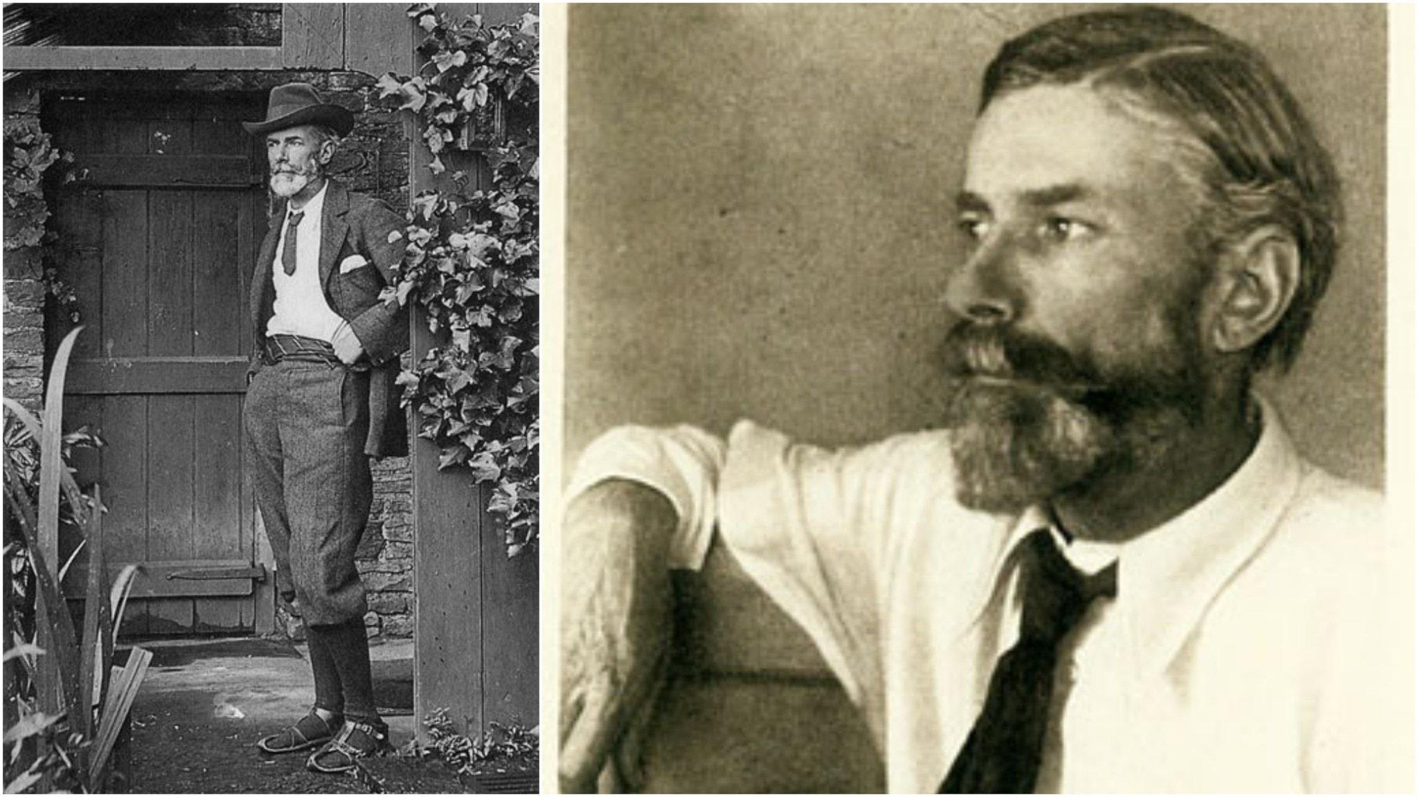 Till vänster Edward Carpenter 1905, typiskt iklädd sina sandaler. Till höger porträtterad vid ett okänt tidigare tillfälle.