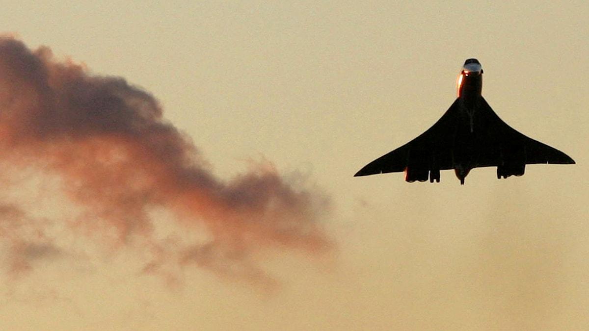 Ett Concordeplan från British Airways gör sig redo att landa på Heathrow i London.