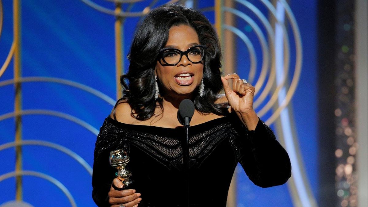 Oprah Winfrey håller tal på Golden Globe-galan i januari 2018.