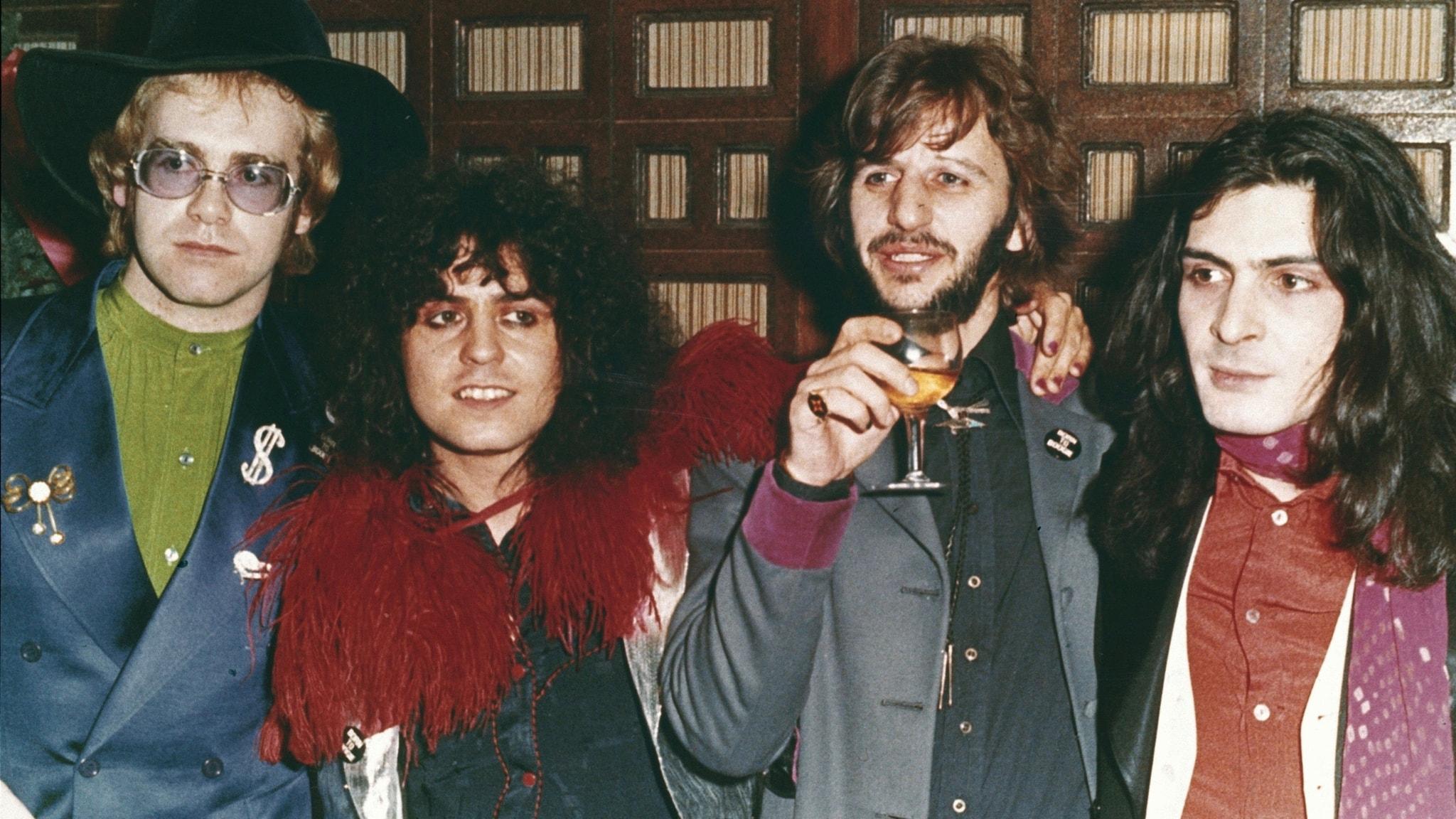 Elton John, Marc Bolan, Ringo Starr och Mickey Finn 1972