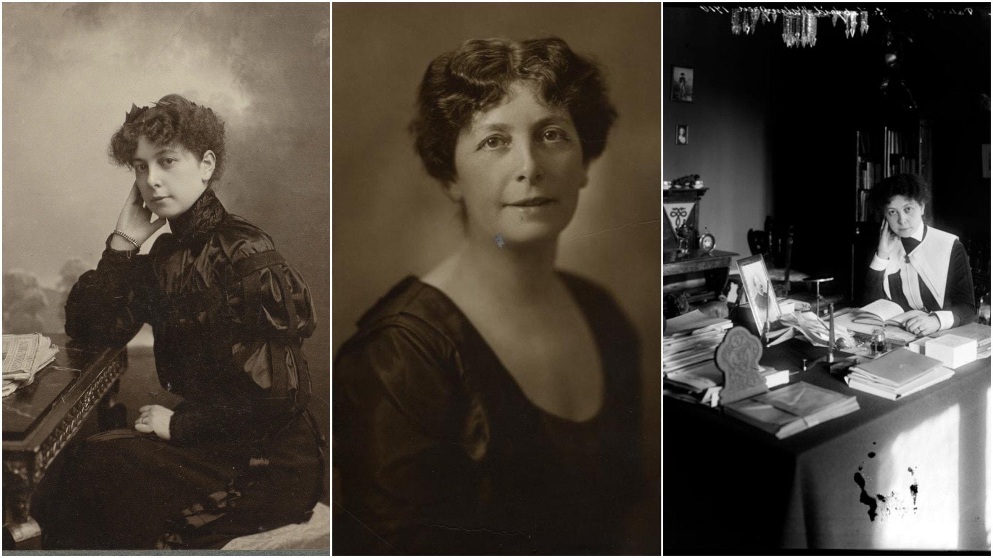 Tre porträttfotografier på Valfrid Palmgren: första från 1905, andra ca 1920 och tredje bilden sittande vid sitt skrivbord 1910.