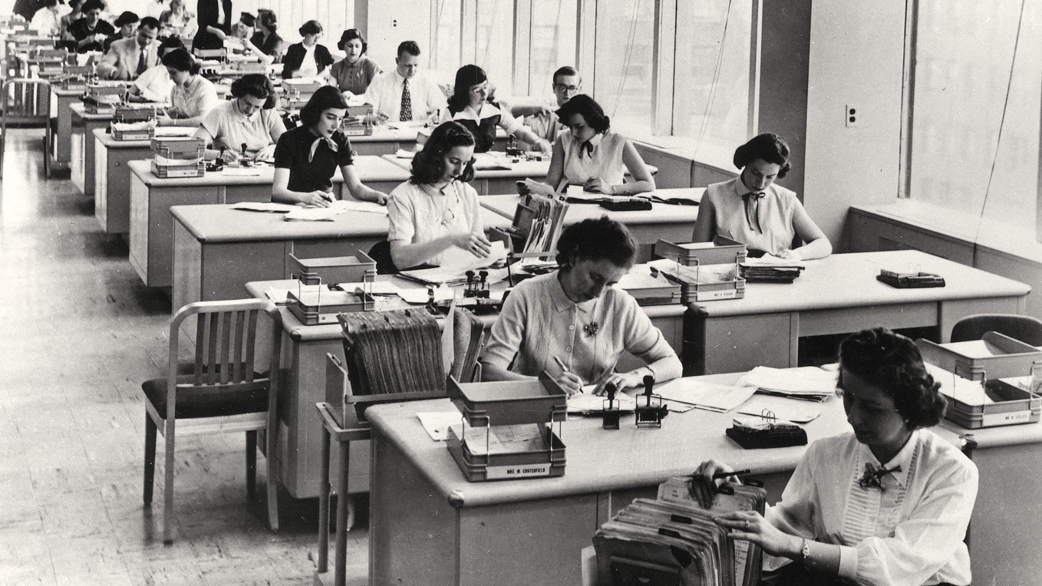 Kontorsmiljö från 1950-tal.
