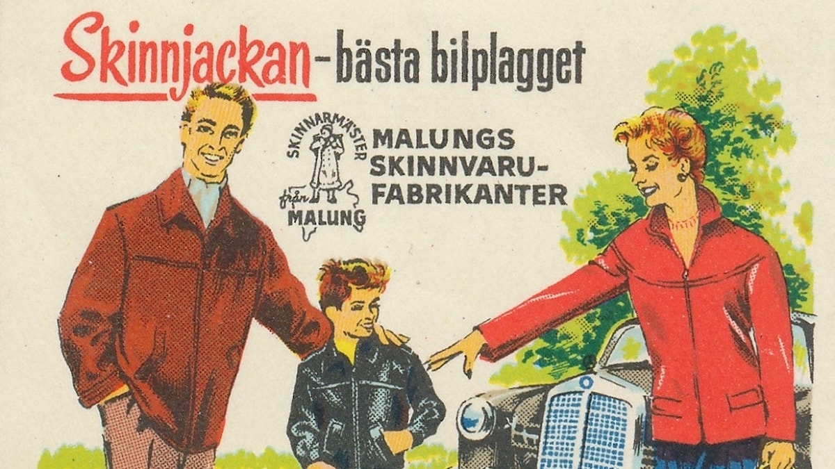 Reklametikett från föreningen Malungs skinnvarufabrikanter från 1957.