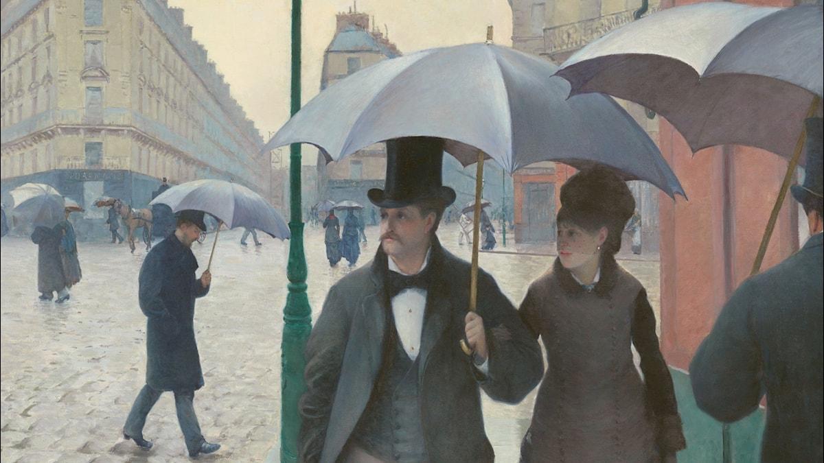 """""""Rue de Paris, temps de pluie"""" av konstnären Gustave Caillebotte, 1877."""