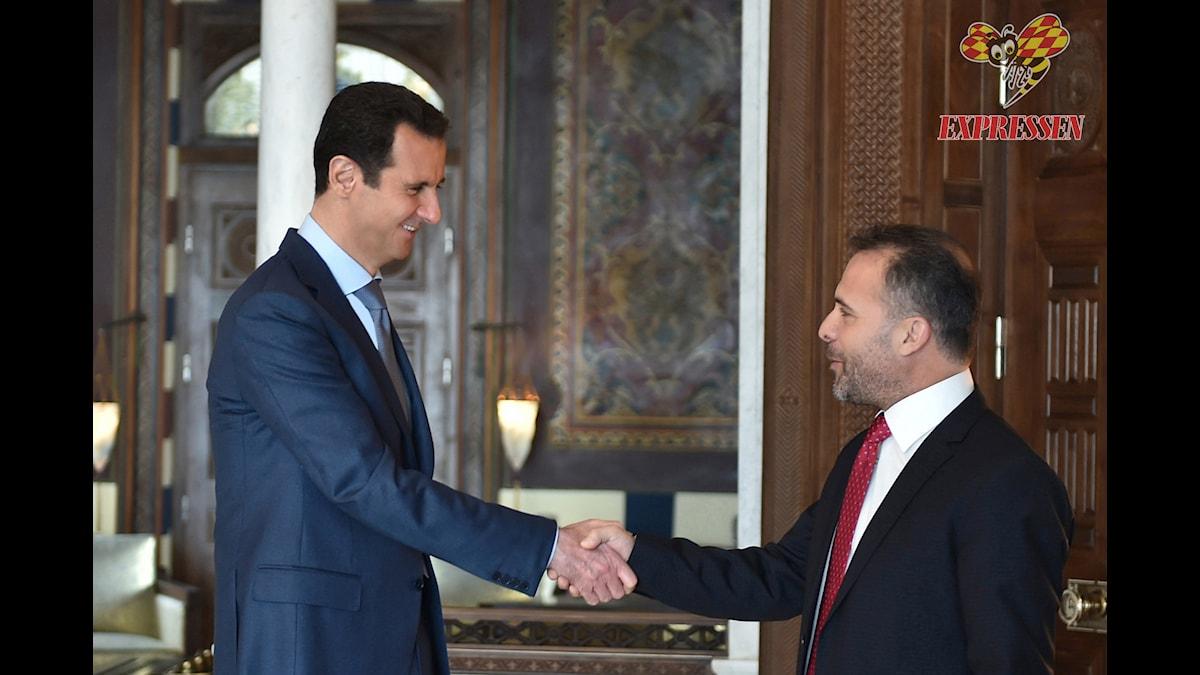 Syriens diktator Bashar Al Assad och Expressens Kassem Hamadé. Foto: Expressen/TT Nyhetsbyrån