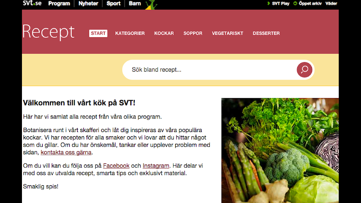 Sveriges Televisions receptsajt kritiseras.