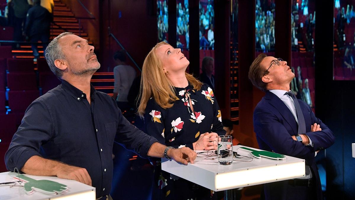 Från vänster Jan Björklund (L), Annie Lööf (C) och Ulf Kristersson (M) inför Aftonbladets partiledardebatt på Cirkus, Skandiascenen i Stockholm.
