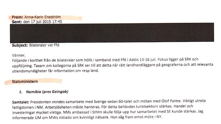 Skärmdump från UD-mejl