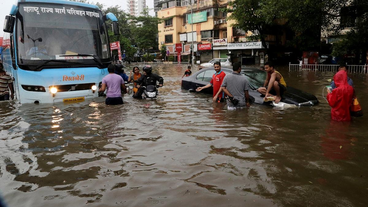 I Indiens finansiella huvudstad Bombay miste många människor livet efter att monsunen drog in.