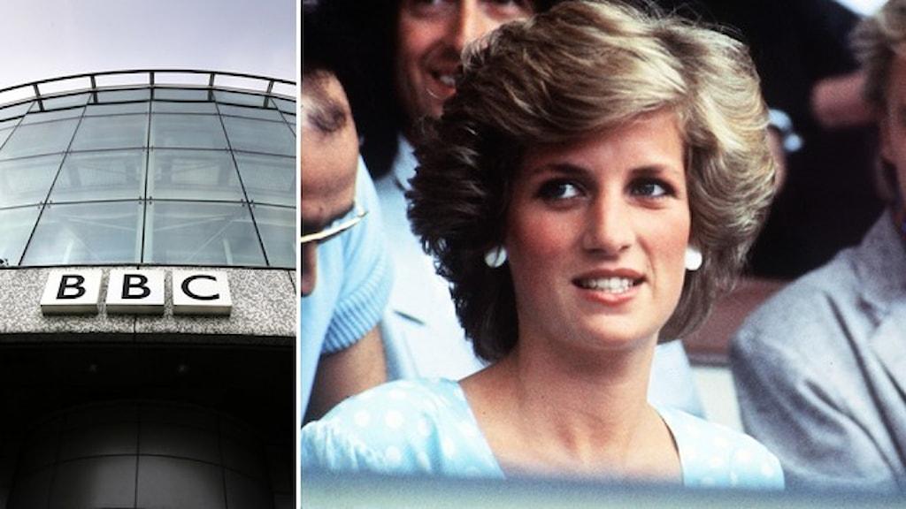 Brittiska broadcastföretagets BBC:s skylt på en fasad och ett porträtt på prinsessan Diana från 1985.