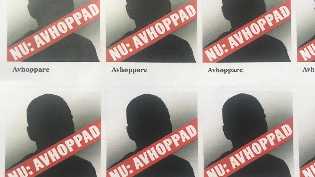"""Skuggbilder med texten """"Nu: Avhoppad"""""""