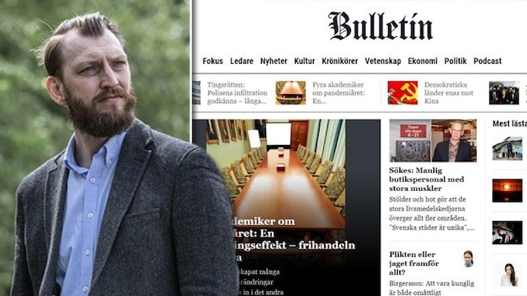 Porträtt av journalisten Ivar Arpi, klädd i går kostym, infälld i en skärmdump av nättidningen Bulletin.