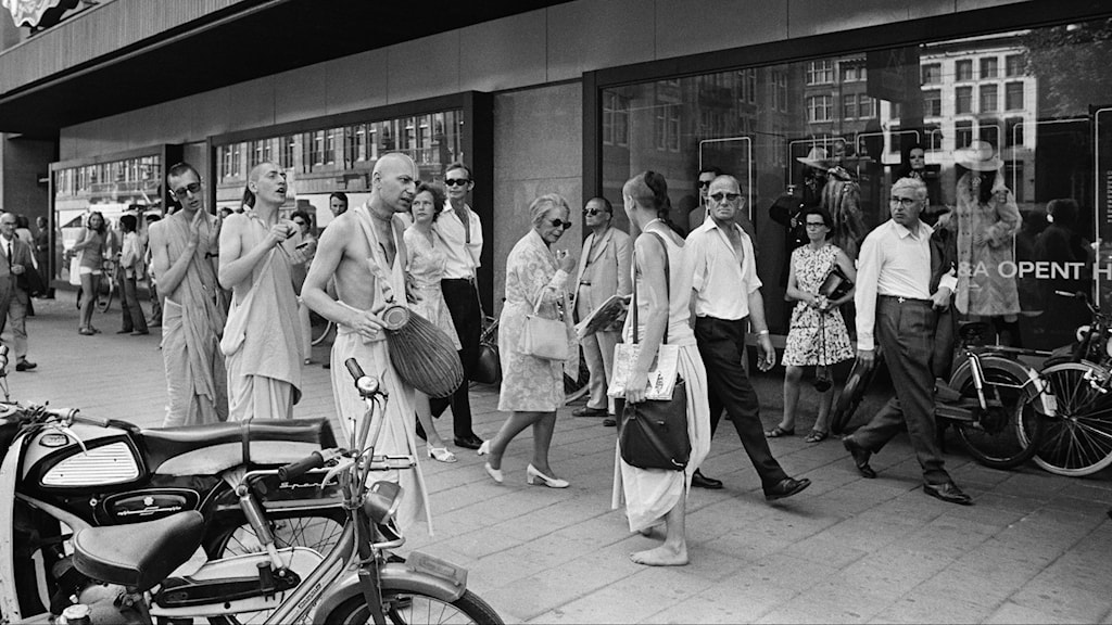 Hare Krishna-anhängare i  Amsterdam på 1970-talet.