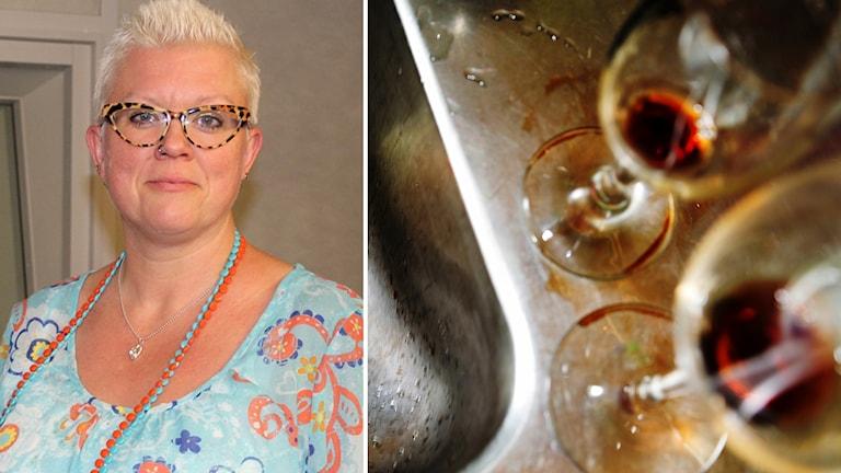 Suzann Larsdotter och tomma vinglas