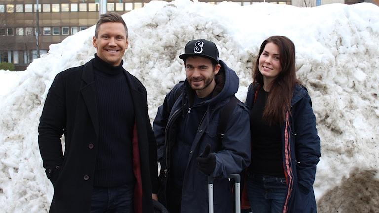 Måndagspanelen med Olof Sjöberg, Simon Gärdenfors och Ellen Grefberg.