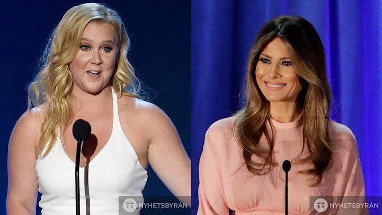 Amy Schumer vänster och Melania Trump till höger.