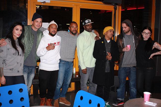 Alla rappare på plats. Här tillsammans med Ametist och Vanessa Falk. Foto: Sofia Staaf/Sveriges Radio