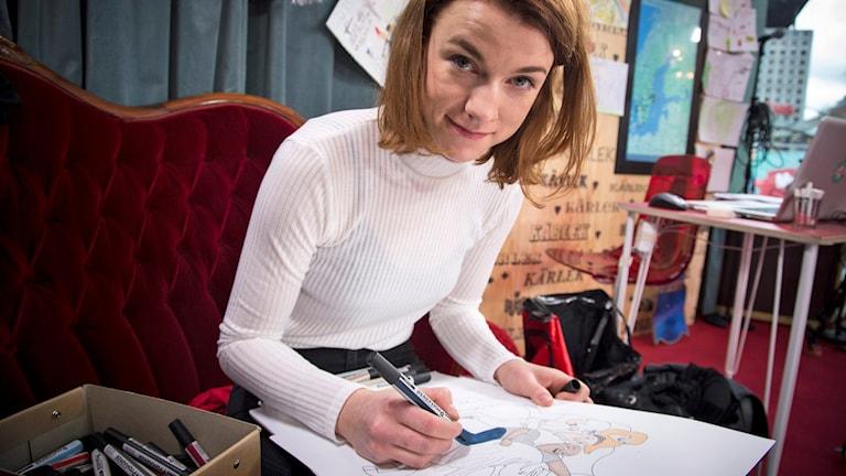 Musikhjälpen 2014. Ellen Ekman, illustratör. Foto: Mattias Ahlm/Sveriges Radio.