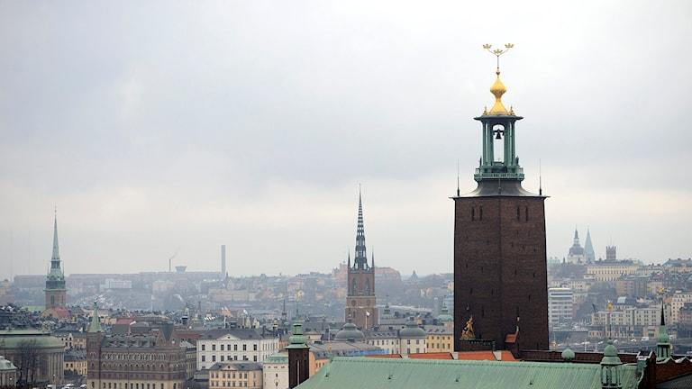 Vy över Stockholm med Stadshuset i förgrunden. Foto: Henrik Montgomery/TT