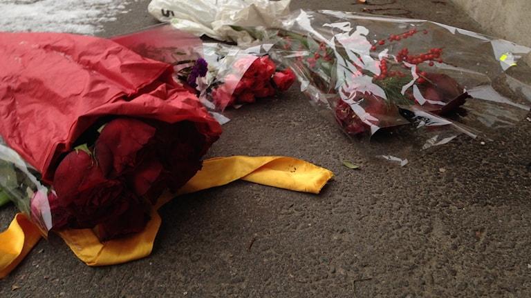 Många har lagt rosor på marken utanför fritidsgården i Vårby gård för att hedra Aiman Qabli. Foto: Mariela Quintana Melin/SR.