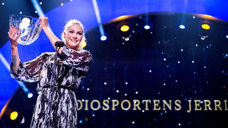 Sarah Sjöström tar emot Jerringpriset 2015. Foto: Marcus Ericsson/TT