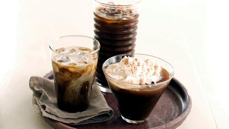 Kallbryggda kaffedrinkar.