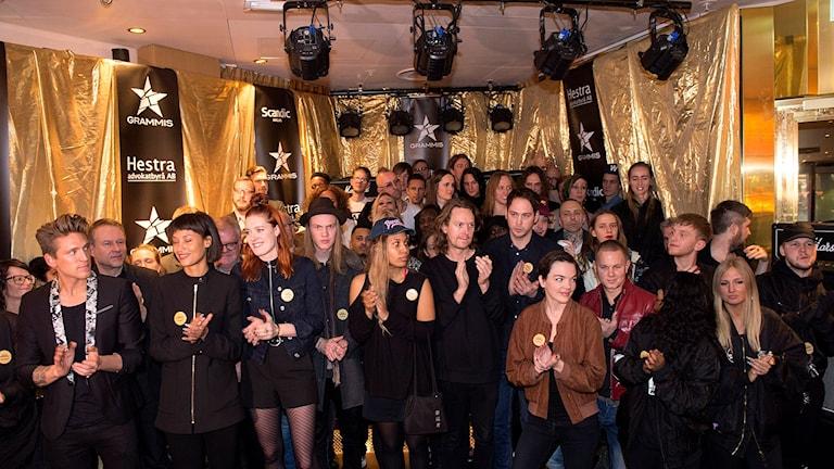 Stor uppslutning av svenska musikartister när nomineringarna till årets Grammis offentliggjordes på Hotel Anglais i Stockholm.
