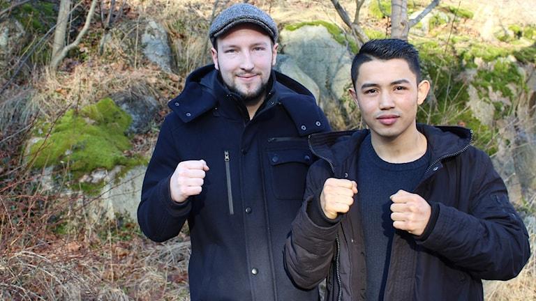 Tränare Joel Grandell och boxaren Hassan Ali Yusefi.