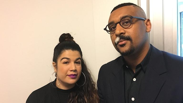 """Frontfigurerna i Revolution Poetry Nachla Vargas Alaebm och Barakat """"Bino"""" Ghebrehawariat."""