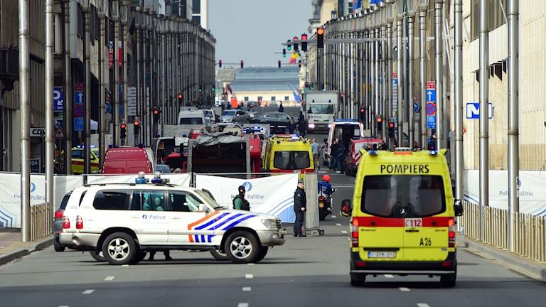 Polisens avspärrning vid Maalbeeks tunnelbanestation.