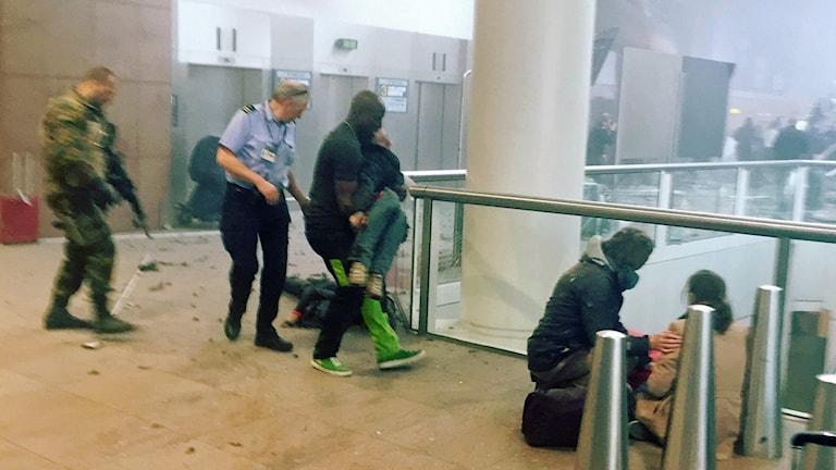 Skadade på flygplatsen i Bryssel.
