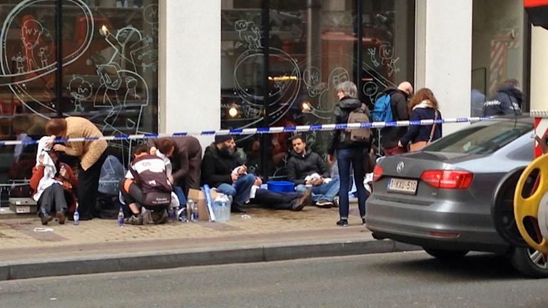 Skadade utanför tunnelbana i Bryssel.